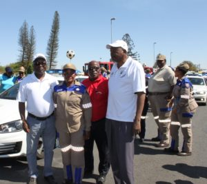Mr Chuene with members of SANTACO and traffic officer
